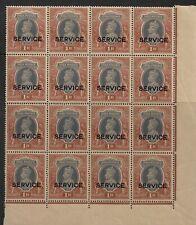 BRITISH INDIA 1939 KGVI RS1/- 'SERVICE' BLOCK OF 16 HIGH C.V £