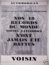 PUBLICITÉ 1929 AUTOMOBILES VOISIN NOS 18 RECORDS DU MONDE - ADVERTISING