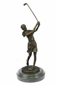 Bronze Sculpture Original~Milo~Female Golfer Golf Sport T Figurine Statue Sale
