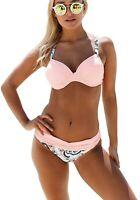 Women's 2 Piece Bikini Pink Blue Flower Paisley Swimsuit Set Size Medium