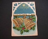 Rare~Christmas Bells~Mechanical KALEIDOSCOPE~Antique Christmas Postcard-k781