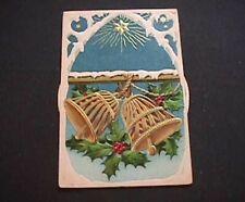 Rare~Christmas Bells~Mechanical KALEIDOSCOPE~Antique Christmas Postcard-k781