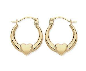 9CT GOLD CHILDREN'S HEART HOOP EARRINGS - REAL 9CT GOLD