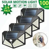 Solar 100LED Outdoor Powered Wall Lamp Motion Sensor Waterproof Security Light