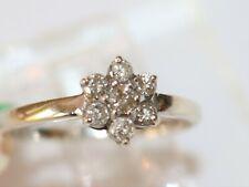 14K White Gold Flower Design Diamond Ring 0.34TW Size 5.75
