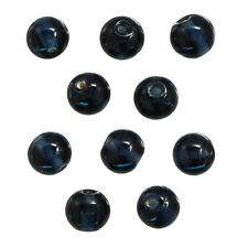 Transparent Dark Blue 10mm Round Glass Beads Pack of 10 (N76/6)