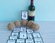 12 monkey fist knot table card holders plus complimentary table number cards