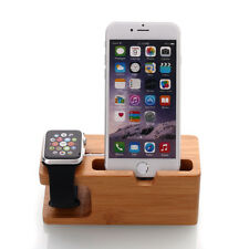 Bamboo Charging Stand Bracket Docking Station for Apple Watch iPhone 8 7 6s Plus
