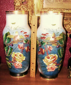 Pair Antique Cockatoo Parrot Bird Floral French Opaline Glass Vases