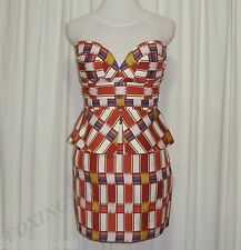 "BNWT:GORGEOUS SASS&BIDE PRINTED BUSTIER DRESS AUS 12,US 6 ""THE DESTINATION"""