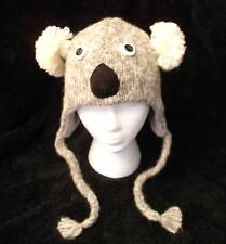 deLux KOALA HAT knit Lined costume ADULT gray grey toque animal MITTENS SEPARATE
