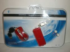 i-CONCEPTS RED TRAVEL ESSENTIALS KIT OPTICAL MOUSE, MOBILE 4 USB HUB, EAR BUDS