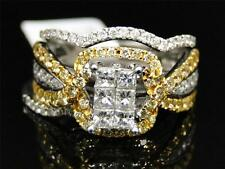 14K White Gold Yellow Canary Diamond Engagement Wedding Band Bridal 3 Ring Set