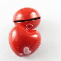 Red Tone Heart Shaped Jingle Bells Brass Pendants Charms Crafts 10pcs 51923