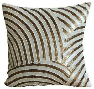 Toss Pillow Cover 12x12 in Silk Decorative Gold, Sequins Beads - Gold Glamorous