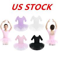 US Toddlers Girls Ballet Dress Dance Ice Skating Gymnastics Tutu Skirts Costumes