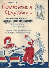 Vintage How To Keep A Party Going Booklet Baird's Esso Servicenter  jhc