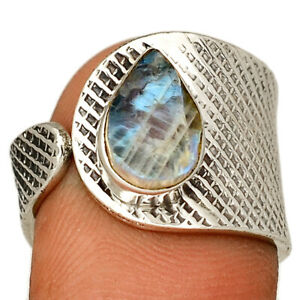 Moonstone Rough 925 Sterling Silver Jewelry Ring s.8 BR703 250B
