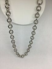 "Judith Ripka Sterling Silver Oval Twist Necklace 19"" 98 Grams"