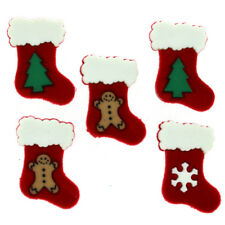 5 Calze di Natale pulsanti, miniature, pulsante per cucire.