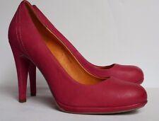 Bellissimo 7/40 Cuero Tribunal Zapatos De Taco Alto Puntera Redonda Rosa Pálido Fuchia