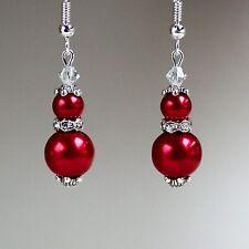Red pearls crystals vintage silver drop dangle earrings wedding bridesmaid gift