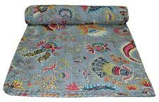 Vintage Indian Kantha Bedspread Quilt Handmade Throw Twin Cotton Mukat Print