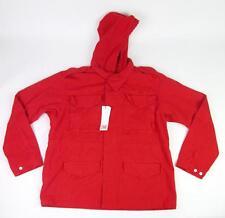LACOSTE L!VE LIVE MENS RED CERISE RAIN WINTER BARN HOODIE JACKET L/S COAT 56 XL