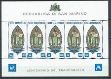 1977 SAN MARINO FOGLIETTO CENTENARIO PRIMI FRANCOBOLLI MNH ** - ED