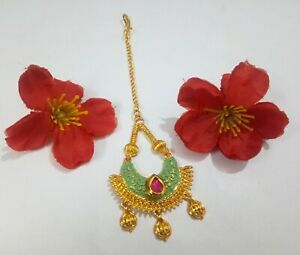 Indian CZ Maang Tikka Wedding Gold Plated Ruby Studded With Meenakari Jewelry