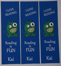 3 PERSONALISED BOOK MARKS FOR CHILDREN,I LOVE READING.READING IS FUN.