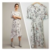 [ WITCHERY ] Womens Printed Satin Flutter Dress | Size AU 4 or US 0
