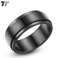 Mens TT 8mm Black Brushed Flat Stainless Steel Spinner Ring Size 6-15 (R15D) NEW