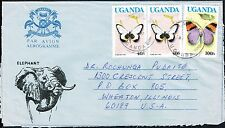 739 UGANDA TO US AIR MAIL COVER BUTTERFLIES MASAKA - WHEATON, IL ELEPHANT
