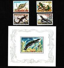 Opc 1965 Belgium Animals Semi-Postal Set & S/S Sc#B779-B783 Mnh 42776