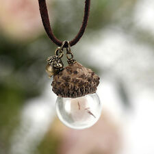 Adorable Crystal Glass Ball Acorn Pinecones Dandelion Chain Pendant Necklace ZZY