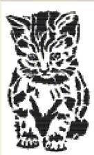 CROSS STITCH KIT - BLACKWORK KITTEN 12 CM X20CM