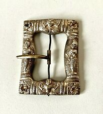 Antique BURMESE SILVER Repousse Ornate Fine Detail BELT BUCKLE