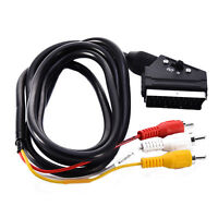 Scart to 3 x Phono Cable IN OUT Switchable Triple RCA Composite Lead Switch 1.5m