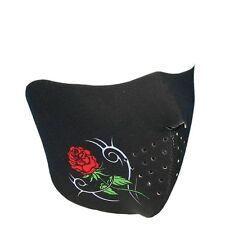 Damen Motorrad Tribal Rose Face Mask Gesichtsschutz Halb Maske Sturmhaube Black