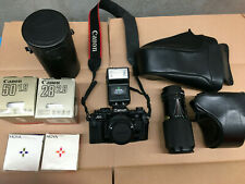 Canon A-1 35mm Slr Film Camera - Black w/ Lenses and Accessories