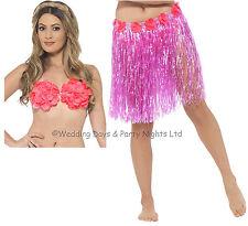 Smiffys Womens Hawaiian Fancy Dress Short Hula Skirt Pink 45550