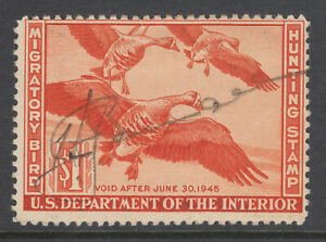 US Sc RW11 used. 1944 $1 White Fronted Geese, Hunting Permit Stamp, fresh, F-VF