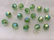 24 Swarovski #5000 8mm Crystal Peridot AB Faceted Round Beads