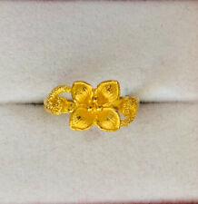 24k Solid Yellow Gold Flower Ring 3.79Grams 6 Size (399$)