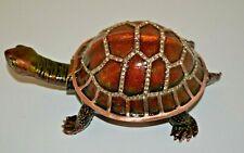 New ListingHand Decorated Hinged Enameled Tortoise Trinket Box by Juliana
