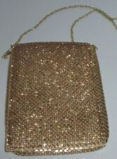 Vintage Rhinestone Chainmail Clutch Purse Shiny Metallic Gold Cocktail Party