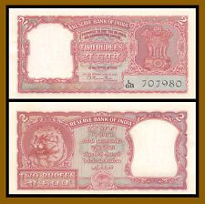 India 2 Rupees, 1949-1957 P-29a Sig #72 Tiger Face Unc with Pinholes