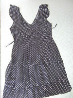 ladies summer dress from papaya size 10 black with white dots
