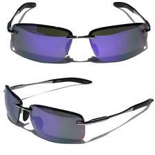 Rectangle Rimless Black Metal Frame Aviator Sunglasses Purple Mirror lens